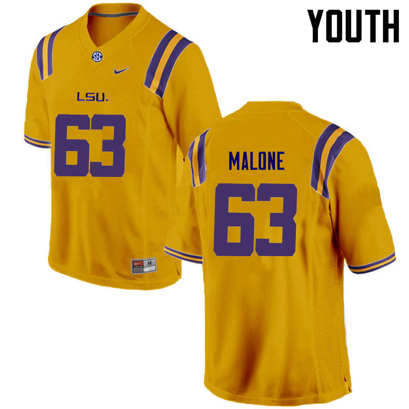 Youth LSU Tigers #63 K.J. Malone College Football Jerseys Game-Gold