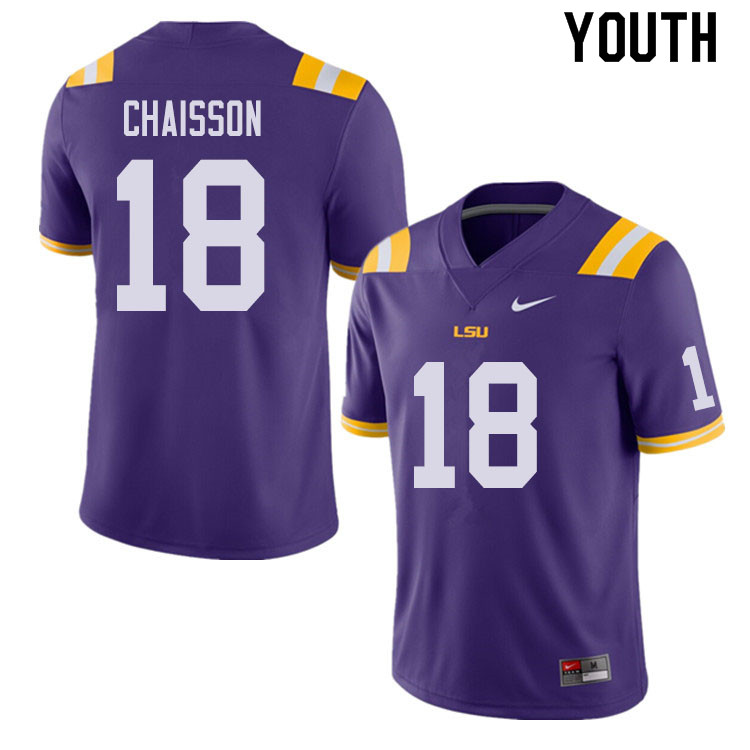 Youth #18 K'Lavon Chaisson LSU Tigers College Football Jerseys Sale-Purple