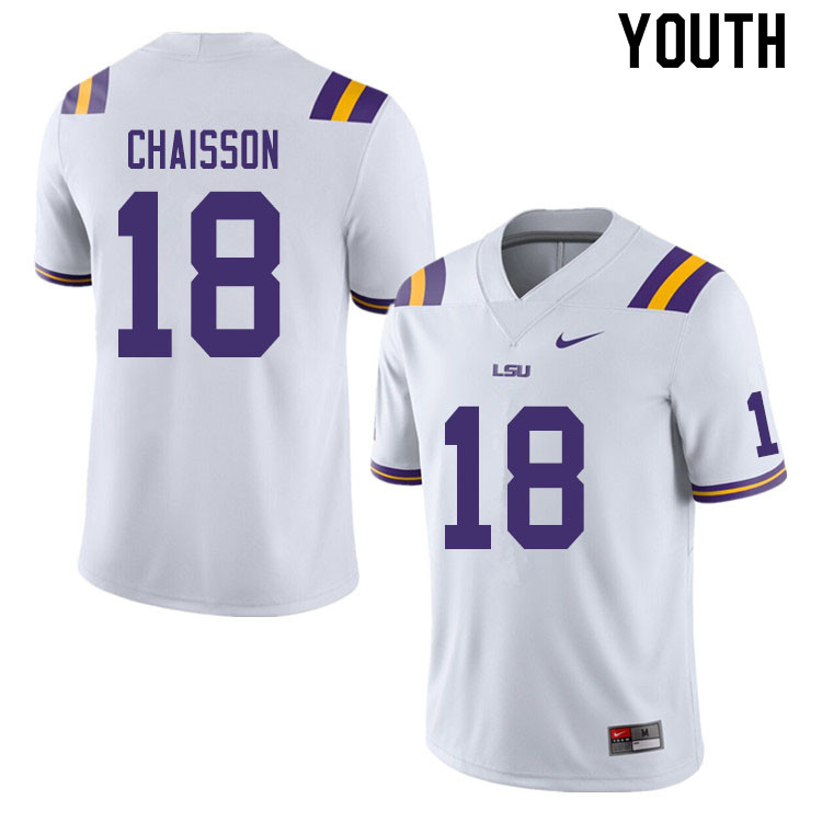 Youth #18 K'Lavon Chaisson LSU Tigers College Football Jerseys Sale-White
