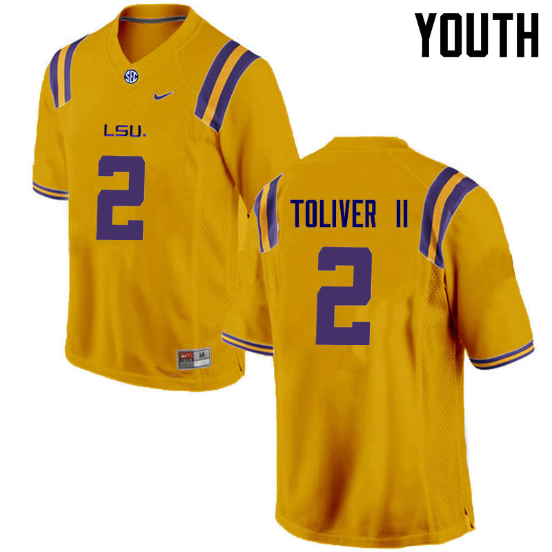 Youth LSU Tigers #2 Kevin Toliver II College Football Jerseys Game-Gold