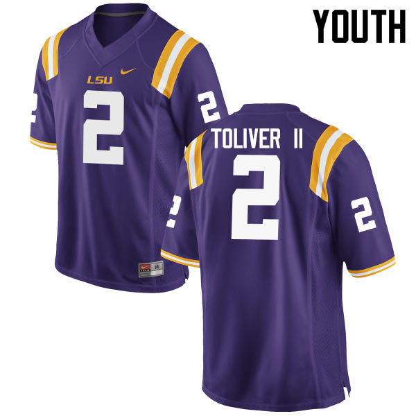 Youth LSU Tigers #2 Kevin Toliver II College Football Jerseys Game-Purple