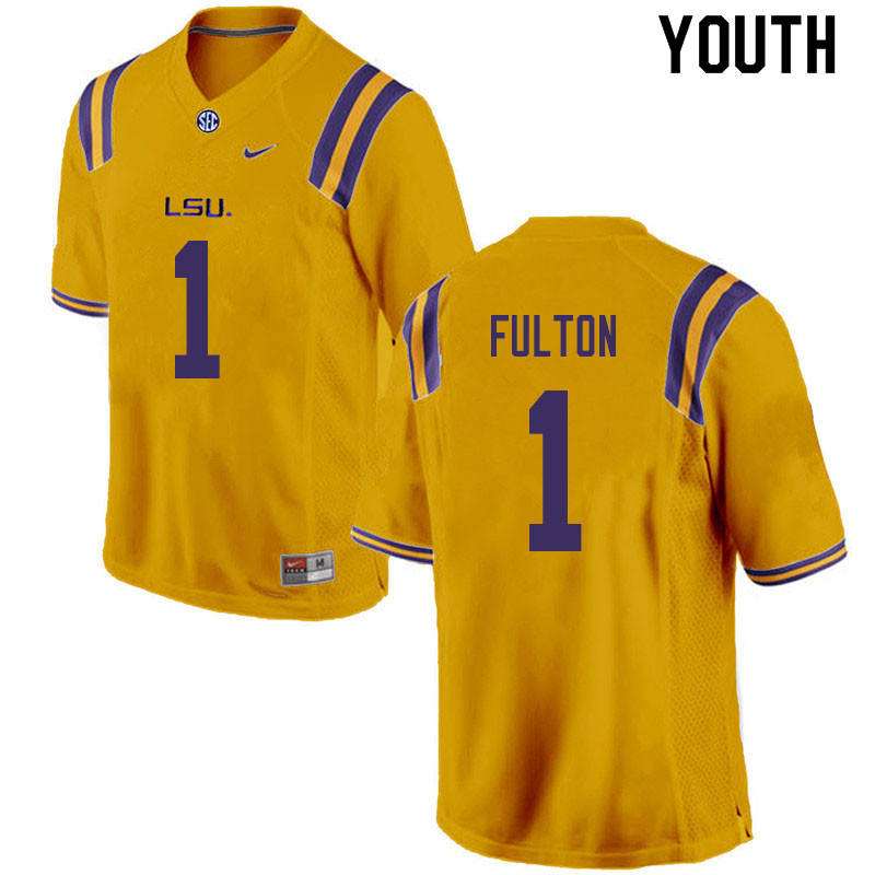 Youth #1 Kristian Fulton LSU Tigers College Football Jerseys Sale-Gold