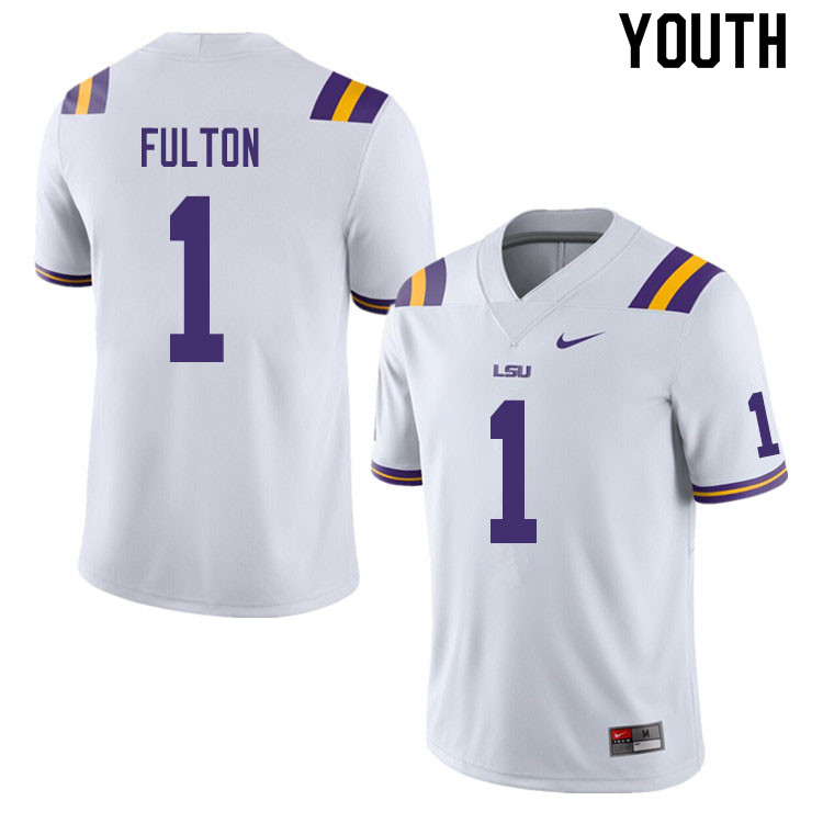 Youth #1 Kristian Fulton LSU Tigers College Football Jerseys Sale-White