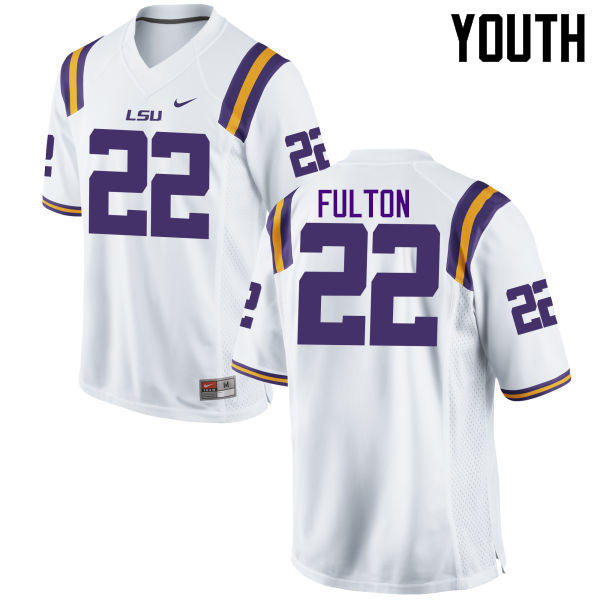 Youth LSU Tigers #22 Kristian Fulton College Football Jerseys Game-White