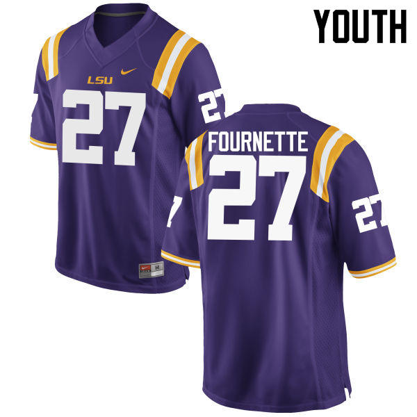 Youth LSU Tigers #27 Lanard Fournette College Football Jerseys Game-Purple