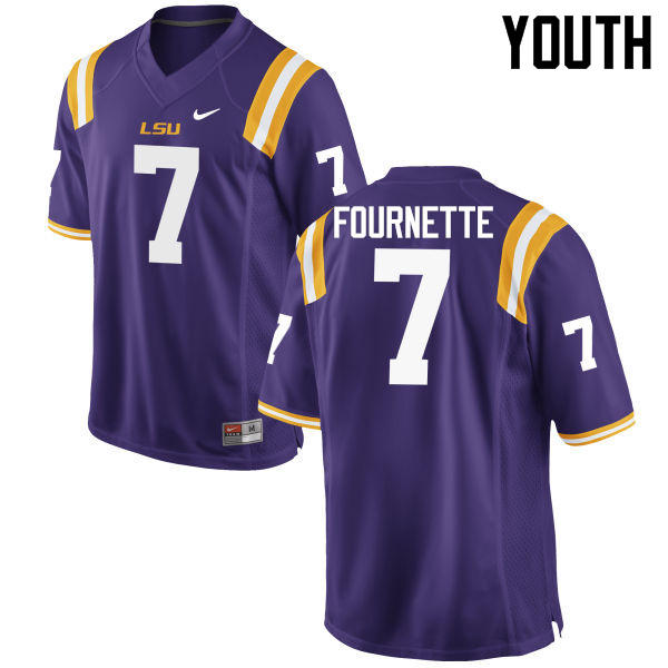 Youth LSU Tigers #7 Leonard Fournette College Football Jerseys Game-Purple