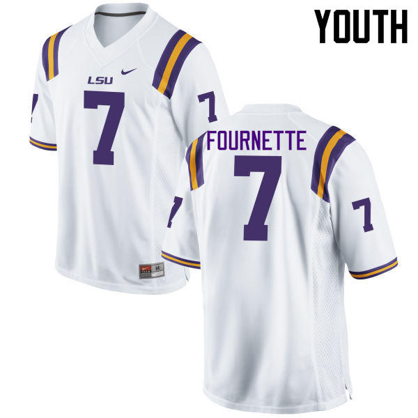 Youth LSU Tigers #7 Leonard Fournette College Football Jerseys Game-White