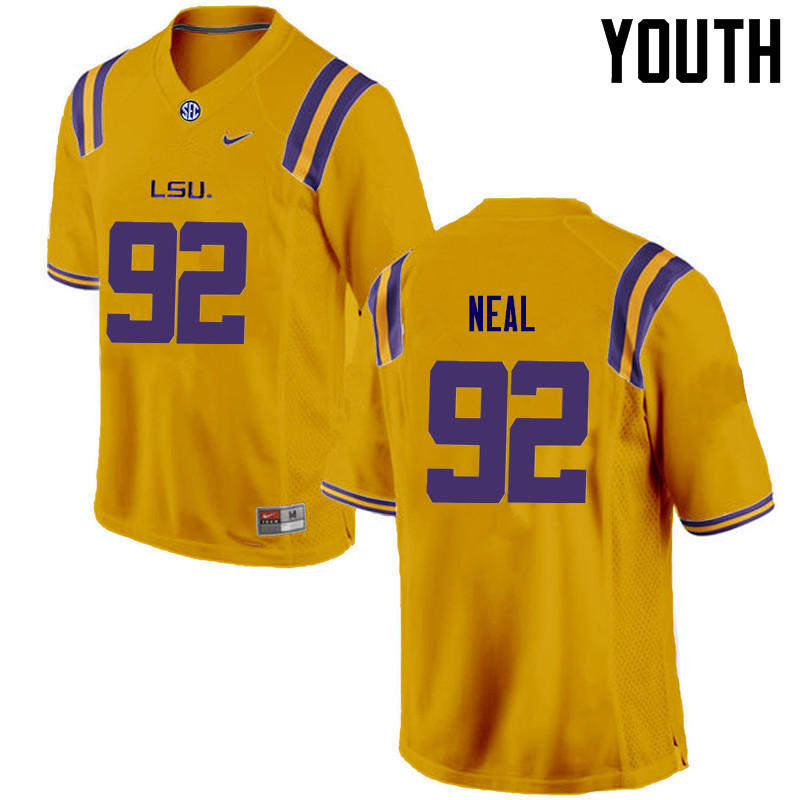 Youth LSU Tigers #92 Lewis Neal College Football Jerseys Game-Gold