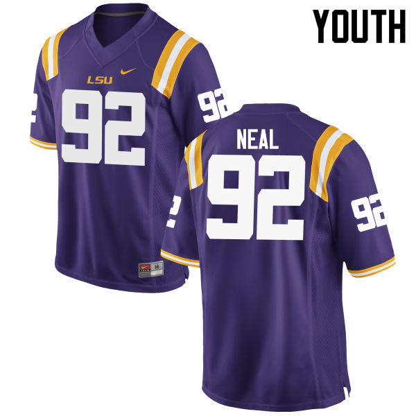 Youth LSU Tigers #92 Lewis Neal College Football Jerseys Game-Purple