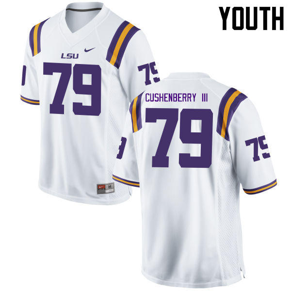 Youth LSU Tigers #79 Lloyd Cushenberry III College Football Jerseys Game-White