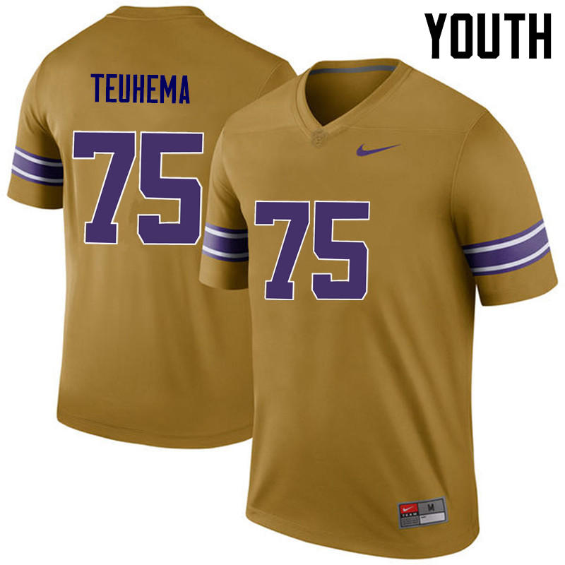 Youth LSU Tigers #75 Maea Teuhema College Football Jerseys Game-Legend