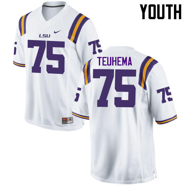 Youth LSU Tigers #75 Maea Teuhema College Football Jerseys Game-White
