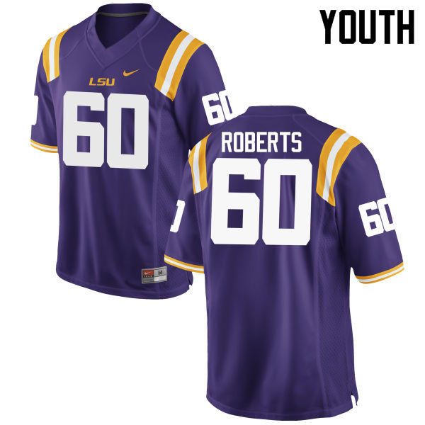 Youth LSU Tigers #60 Marcus Roberts College Football Jerseys Game-Purple