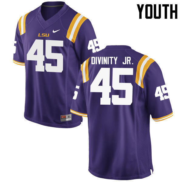 Youth LSU Tigers #45 Michael Divinity Jr. College Football Jerseys Game-Purple