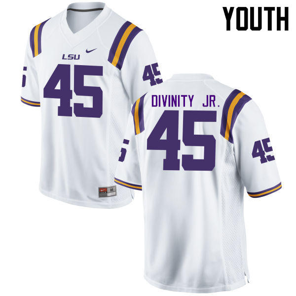 Youth LSU Tigers #45 Michael Divinity Jr. College Football Jerseys Game-White