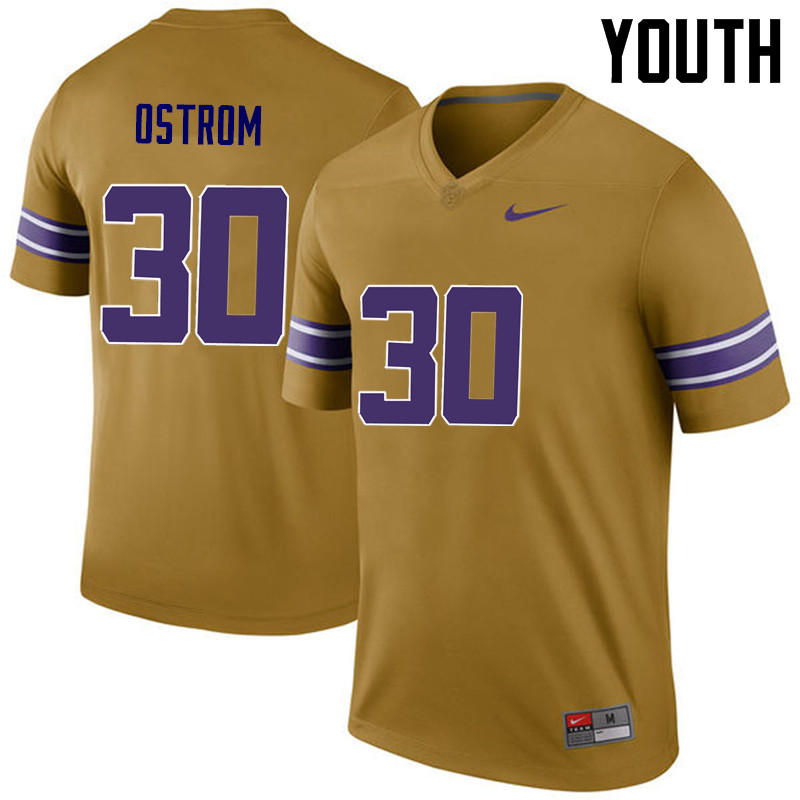 Youth LSU Tigers #30 Michael Ostrom College Football Jerseys Game-Legend