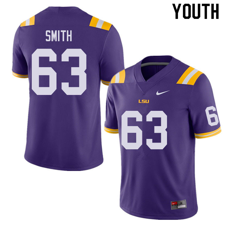 Youth #63 Michael Smith LSU Tigers College Football Jerseys Sale-Purple