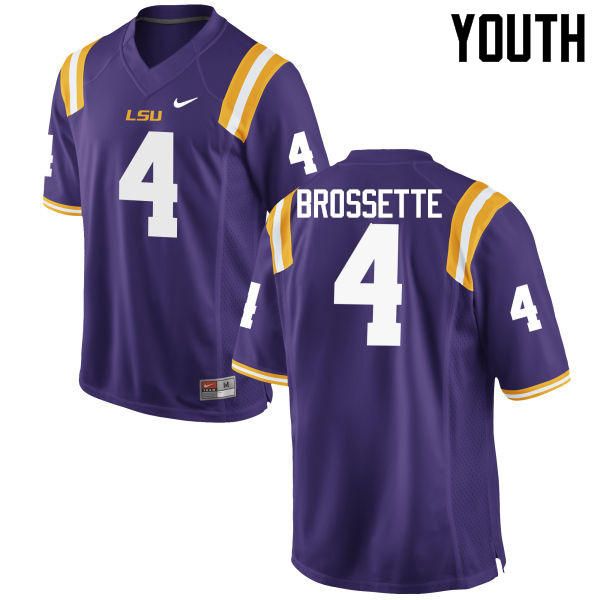 Youth LSU Tigers #4 Nick Brossette College Football Jerseys Game-Purple