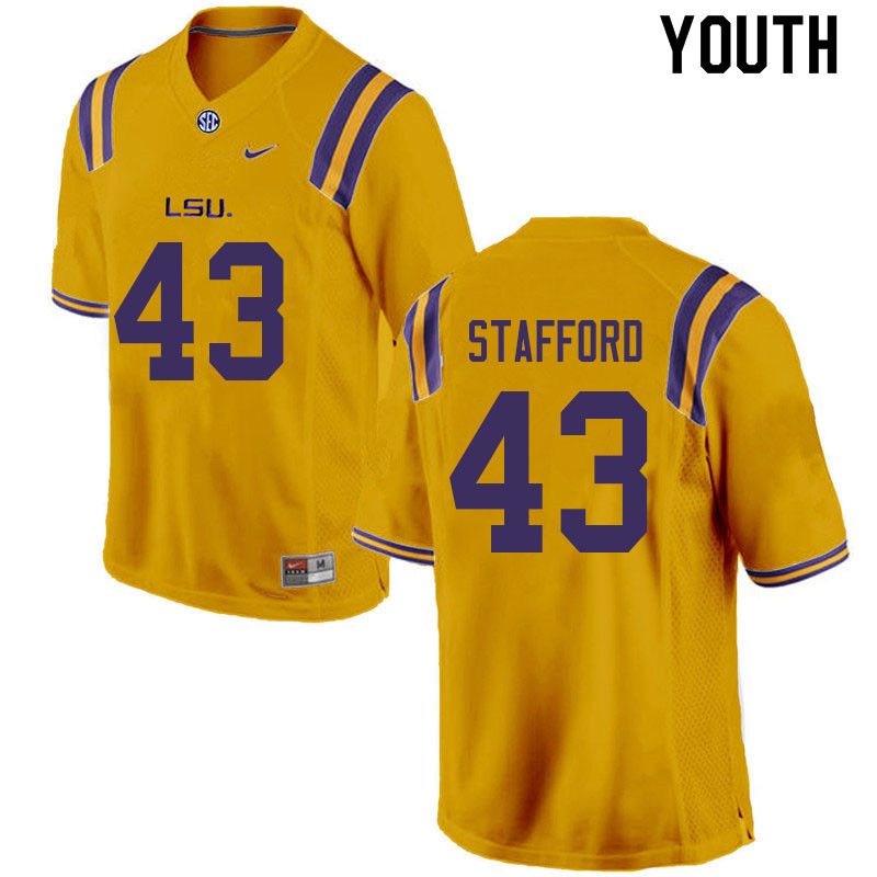 Youth #43 Preston Stafford LSU Tigers College Football Jerseys Sale-Gold