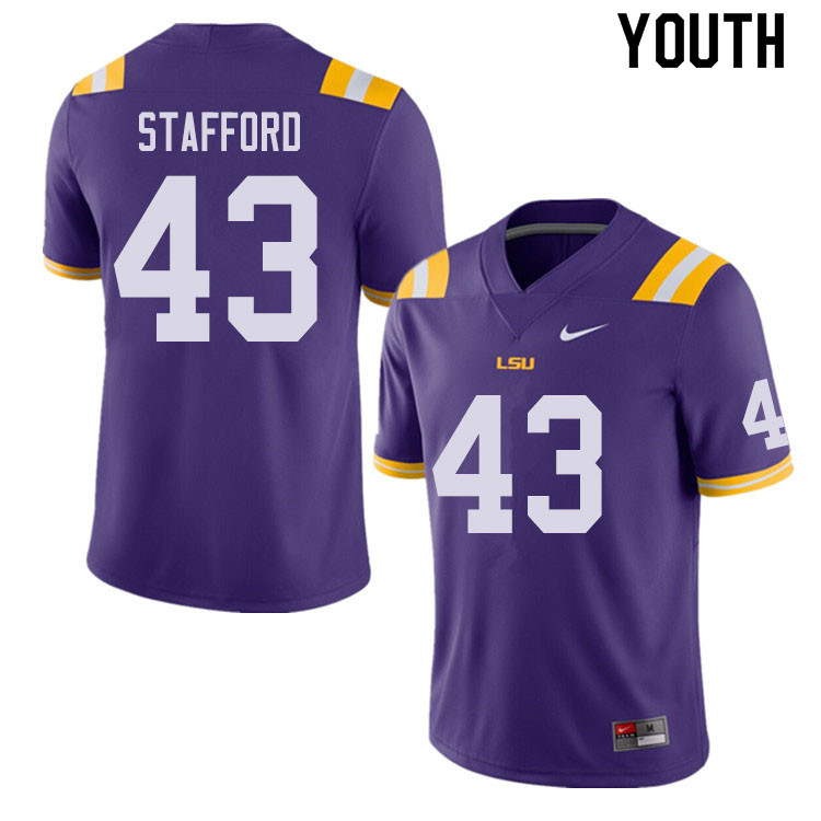 Youth #43 Preston Stafford LSU Tigers College Football Jerseys Sale-Purple