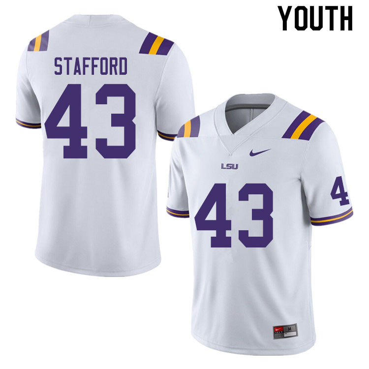 Youth #43 Preston Stafford LSU Tigers College Football Jerseys Sale-White