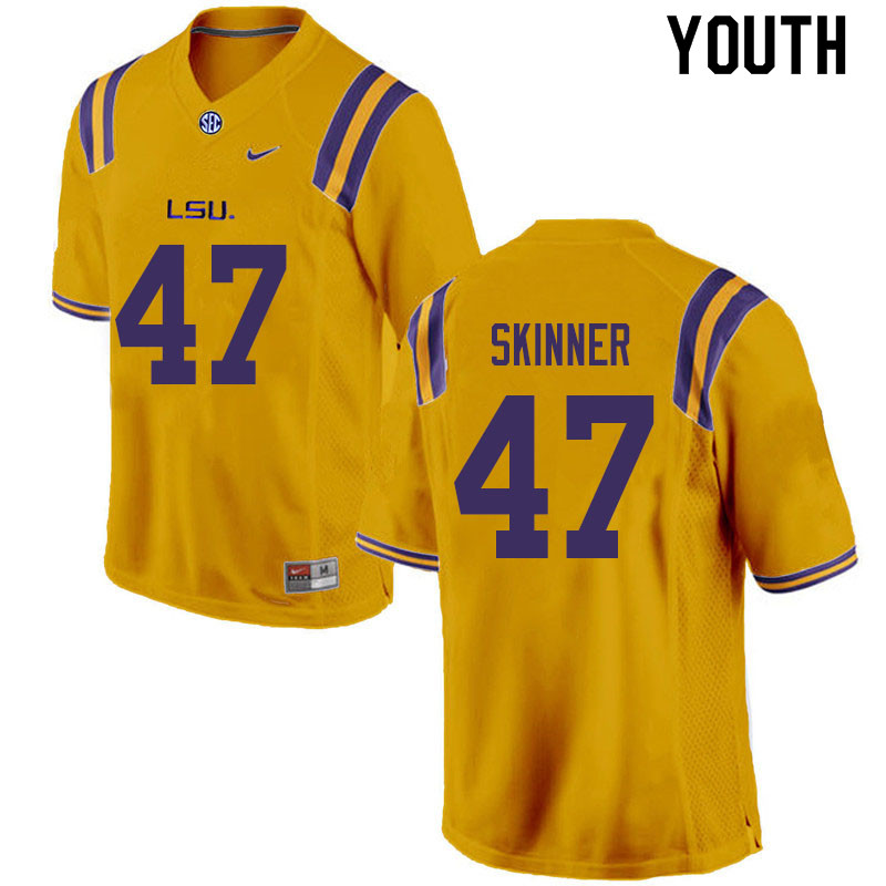 Youth #47 Quentin Skinner LSU Tigers College Football Jerseys Sale-Gold