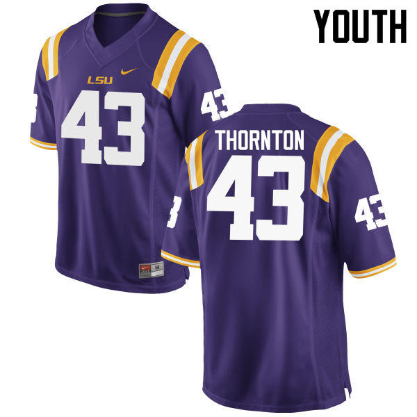 Youth LSU Tigers #43 Rahssan Thornton College Football Jerseys Game-Purple