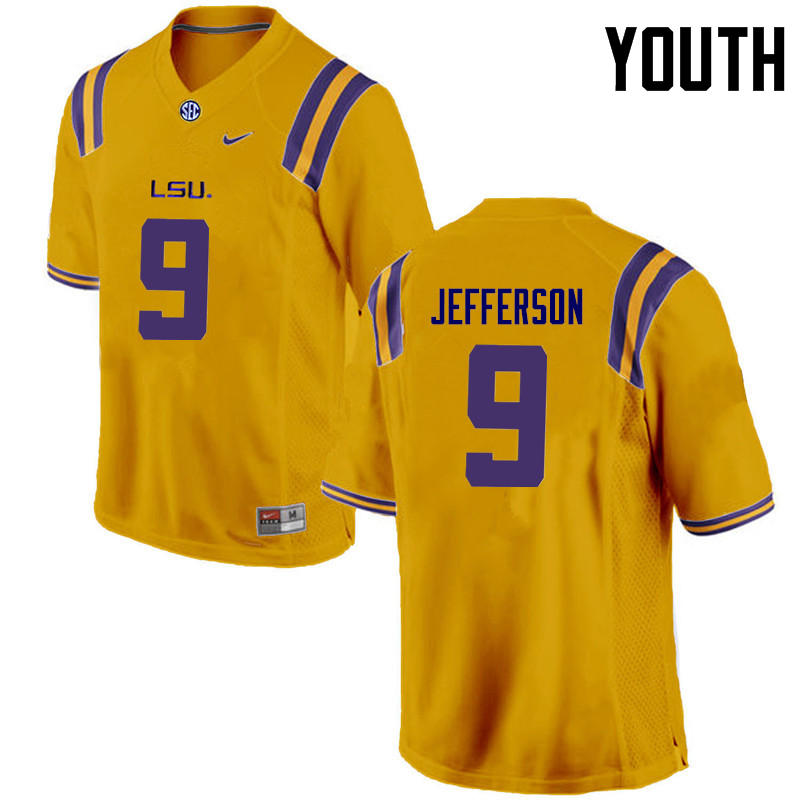 Youth LSU Tigers #9 Rickey Jefferson College Football Jerseys Game-Gold
