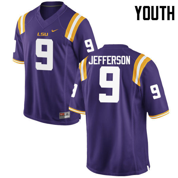 Youth LSU Tigers #9 Rickey Jefferson College Football Jerseys Game-Purple
