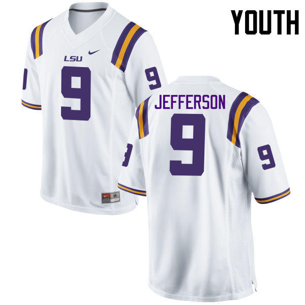 Youth LSU Tigers #9 Rickey Jefferson College Football Jerseys Game-White