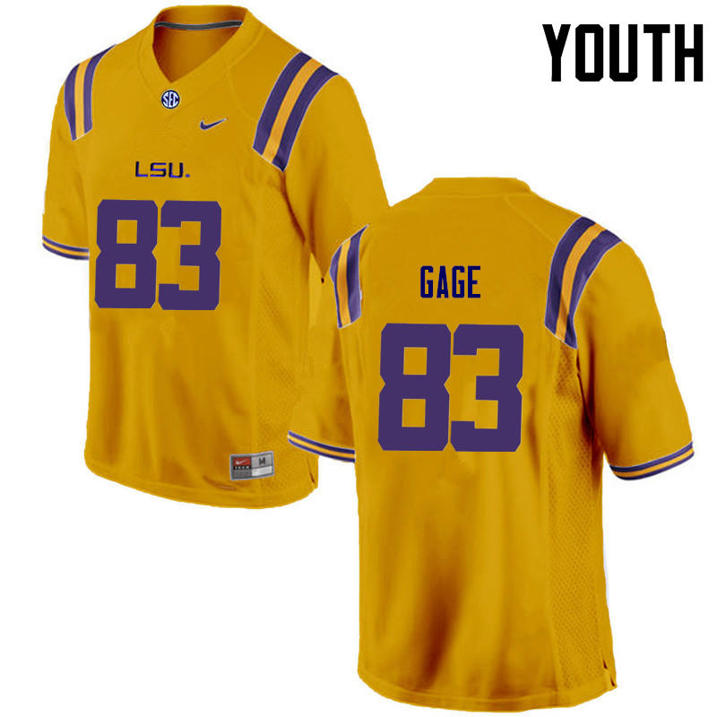 Youth LSU Tigers #83 Russell Gage College Football Jerseys Game-Gold