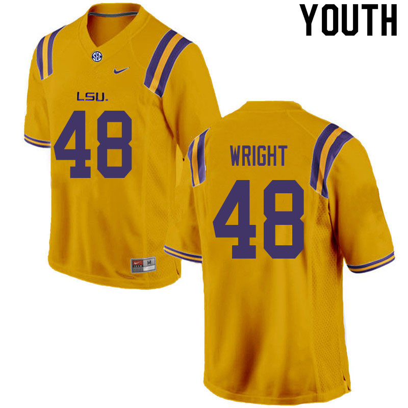 Youth #48 Sloan Wright LSU Tigers College Football Jerseys Sale-Gold