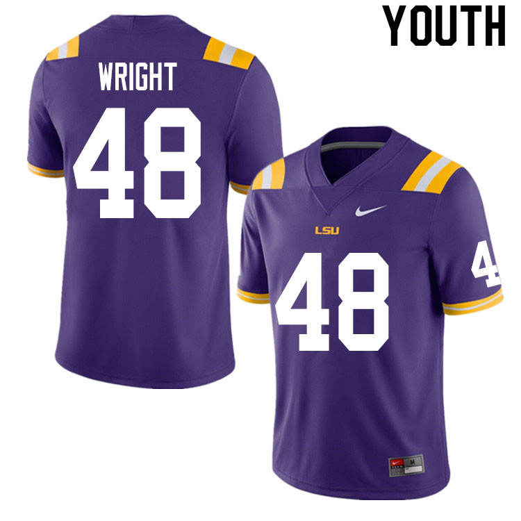 Youth #48 Sloan Wright LSU Tigers College Football Jerseys Sale-Purple