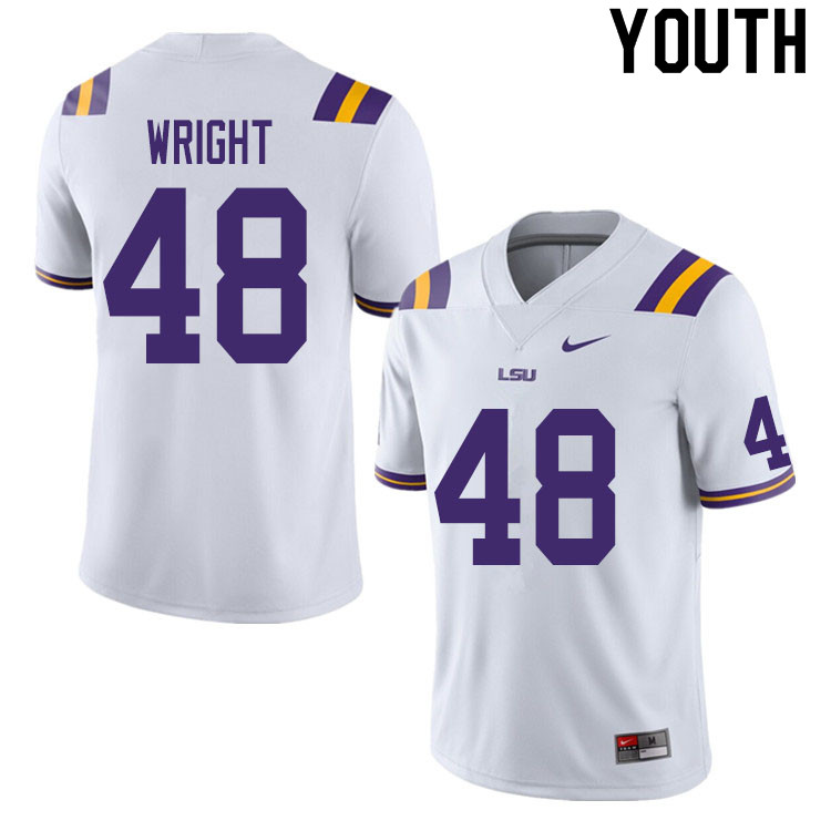 Youth #48 Sloan Wright LSU Tigers College Football Jerseys Sale-White