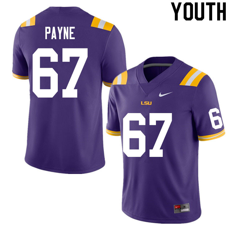 Youth #67 Spencer Payne LSU Tigers College Football Jerseys Sale-Purple