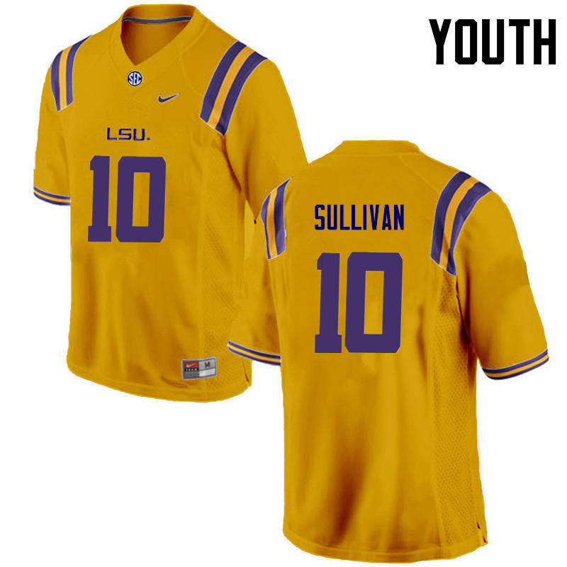 Youth LSU Tigers #10 Stephen Sullivan College Football Jerseys Game-Gold