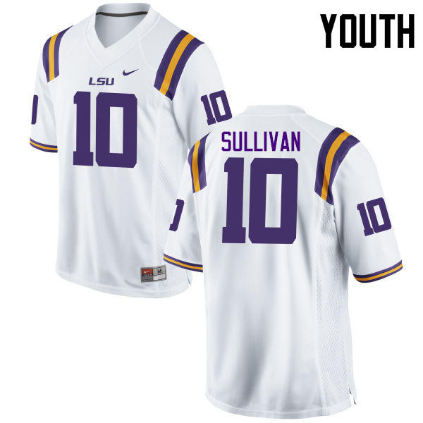 Youth LSU Tigers #10 Stephen Sullivan College Football Jerseys Game-White