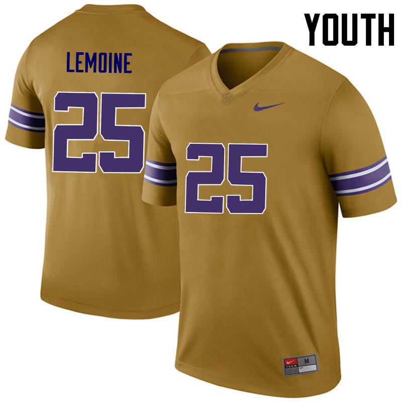 Youth LSU Tigers #25 T.J. Lemoine College Football Jerseys Game-Legend