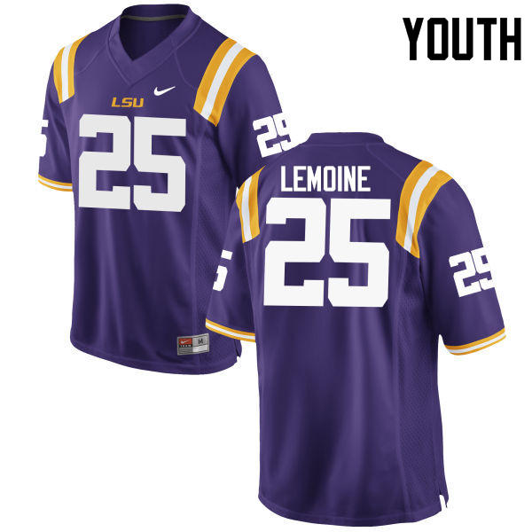 Youth LSU Tigers #25 T.J. Lemoine College Football Jerseys Game-Purple