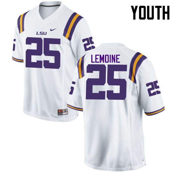 Youth LSU Tigers #25 T.J. Lemoine College Football Jerseys Game-White