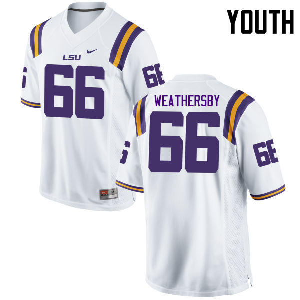 Youth LSU Tigers #66 Toby Weathersby College Football Jerseys Game-White