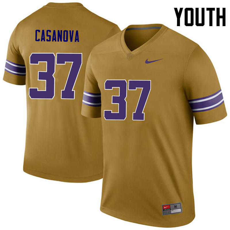 Youth LSU Tigers #37 Tommy Casanova College Football Jerseys Game-Legend