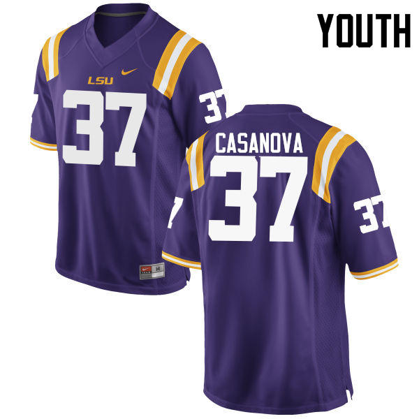 Youth LSU Tigers #37 Tommy Casanova College Football Jerseys Game-Purple