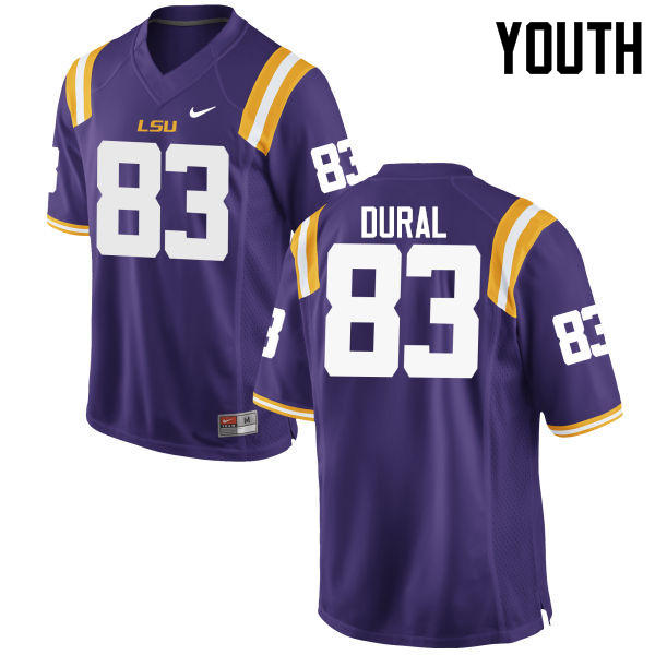 Youth LSU Tigers #83 Travin Dural College Football Jerseys Game-Purple