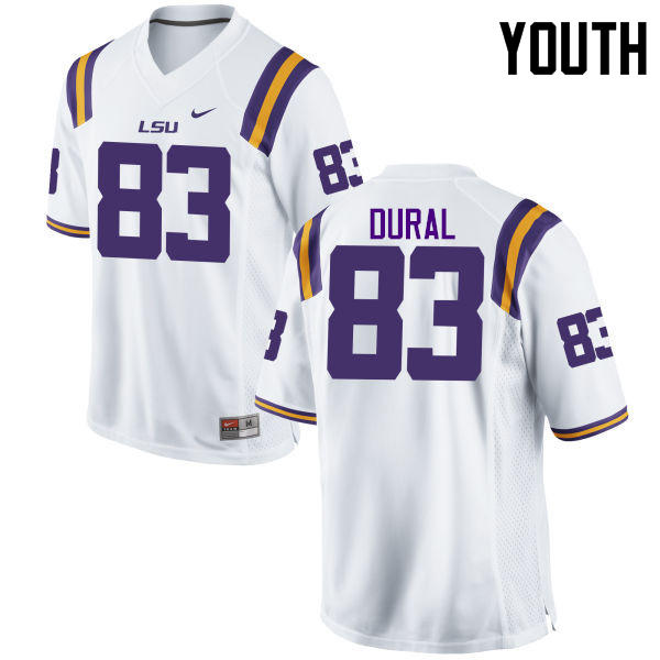 Youth LSU Tigers #83 Travin Dural College Football Jerseys Game-White
