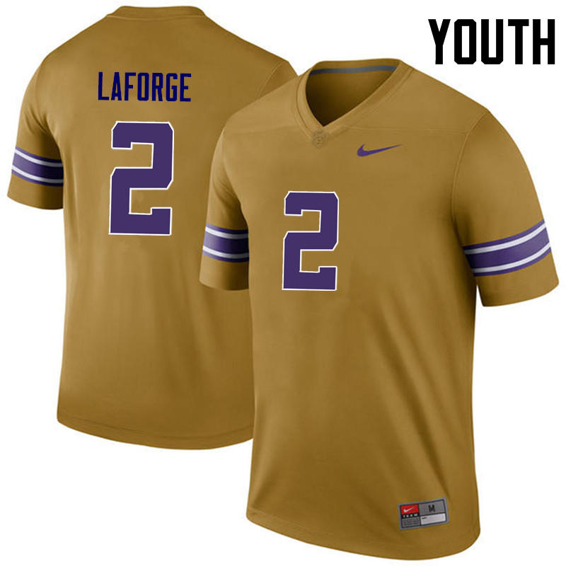 Youth LSU Tigers #2 Trey LaForge College Football Jerseys Game-Legend
