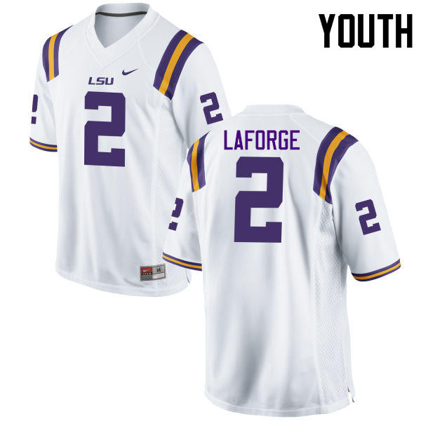 Youth LSU Tigers #2 Trey LaForge College Football Jerseys Game-White