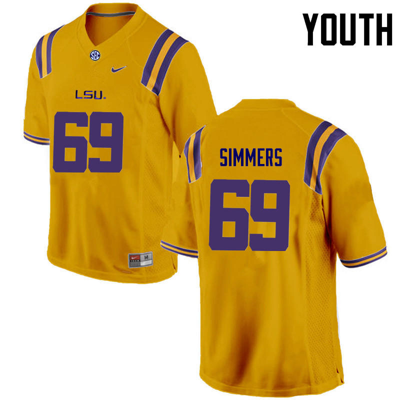 Youth LSU Tigers #69 Turner Simmers College Football Jerseys Game-Gold