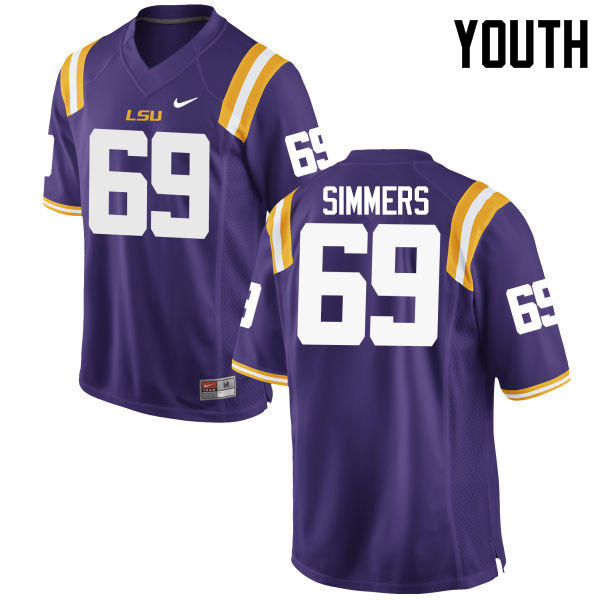 Youth LSU Tigers #69 Turner Simmers College Football Jerseys Game-Purple