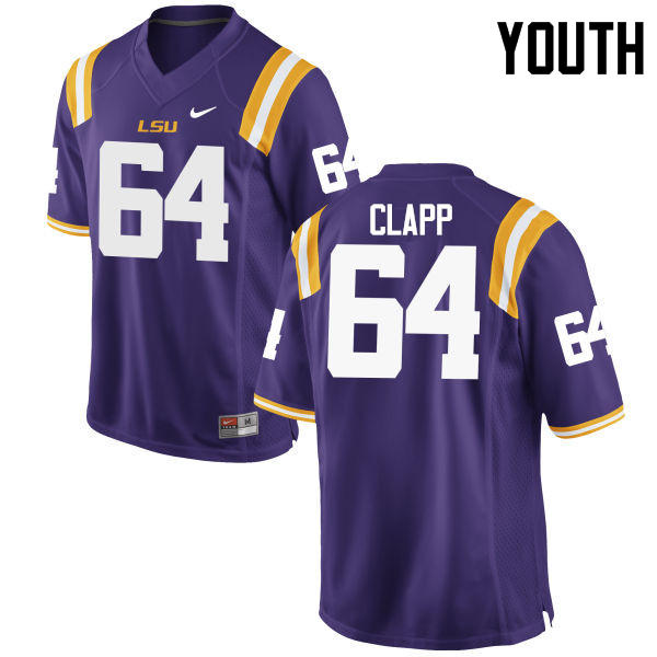 Youth LSU Tigers #64 William Clapp College Football Jerseys Game-Purple